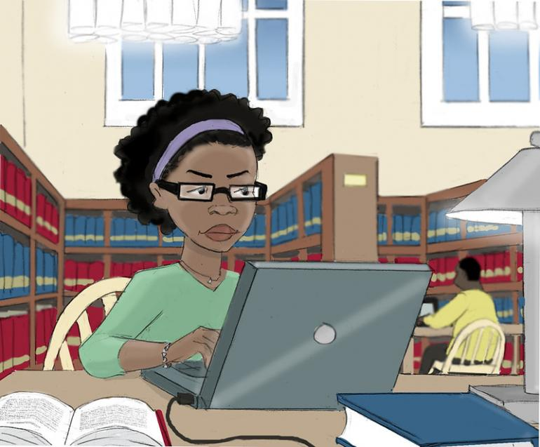 Image description: Illustration of person looking at computer