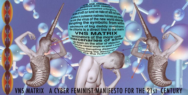 Artistic representation with human bodies in the front, DNA images in the back, and the Manifesto text in the middle.