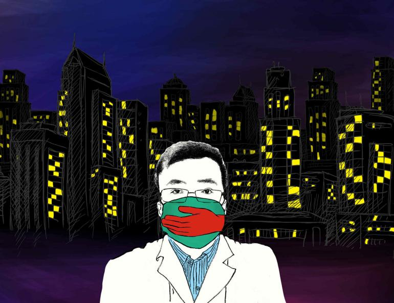 Image description: Dr. Li Wenliang with mask against backdrop of high-rise apartments in Wuhan