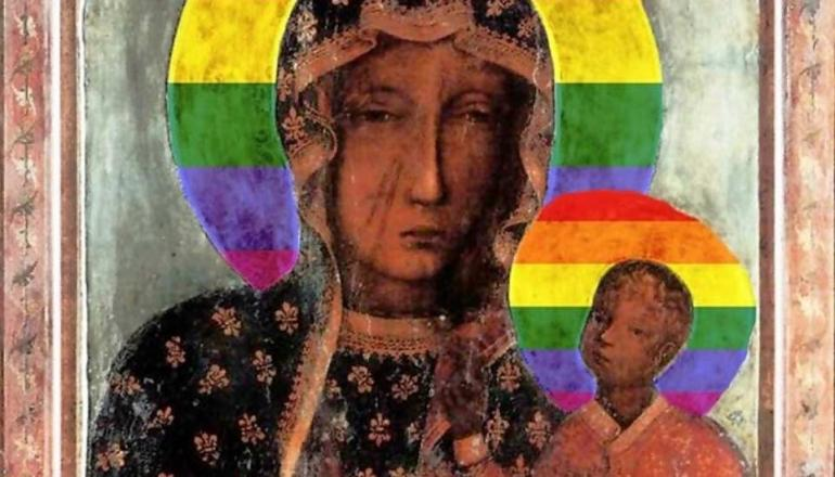 Image description: Disputed image of Virgin Mary with rainbow halo
