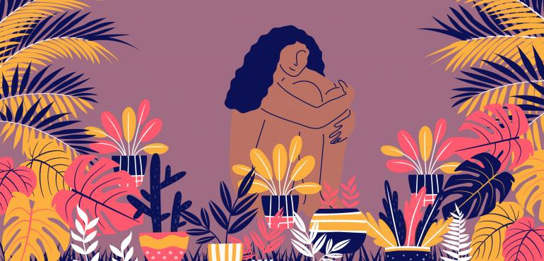 """Self-care"". Illustrations by Paru Ramesh"