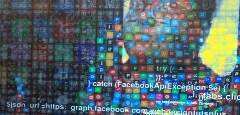 Image description: Visible outline of person against wall of apps