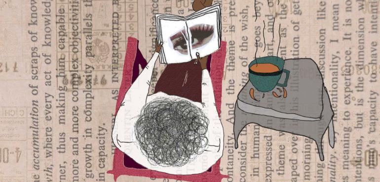 Image description: Collage showing top of head and book on text
