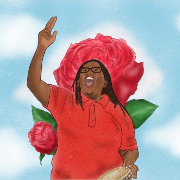 Stella Nyanzi rising her hand, with roses at her back.