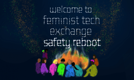 Welcome to Feminist Tech Exchange. Women and queer people around a bonfire under the stars.