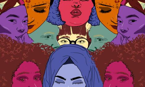 Illustration with colored faces of women from different origins