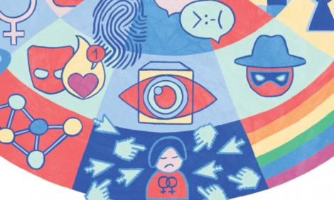 Mouse cursors point to a woman surrounded by icons representing a hostile digital environment