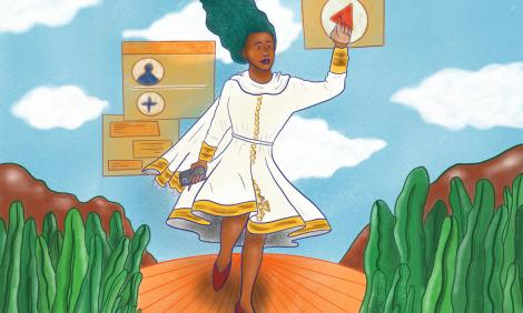 Black woman wolking with digital elements around.