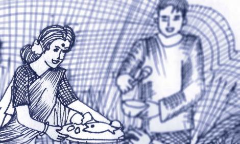 Image illustration: drawing of a woman in a sari serving a dish with fish on it