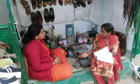 Radha making a research interview.