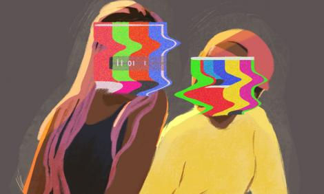 Image description: Illustration of two people sitting with faces blurred