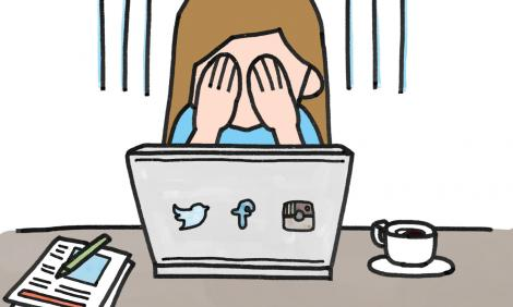 Image description: Comic of woman covering her eyes with her hands in front of computer