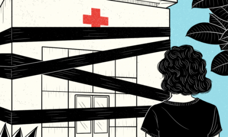 Illustration of a woman looking at the front of an hospital surrounded by tapes that close the entrance.