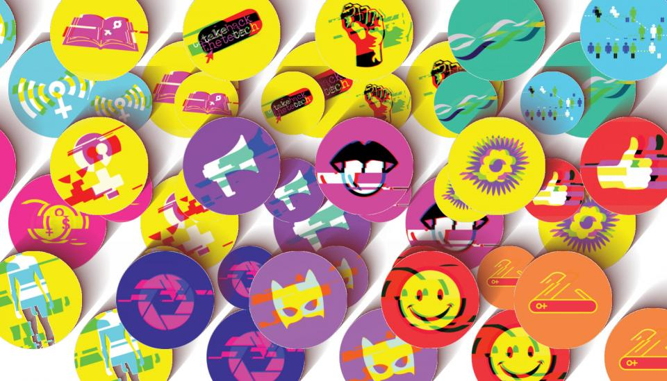 Image description: Stickers for feminist principles of the internet