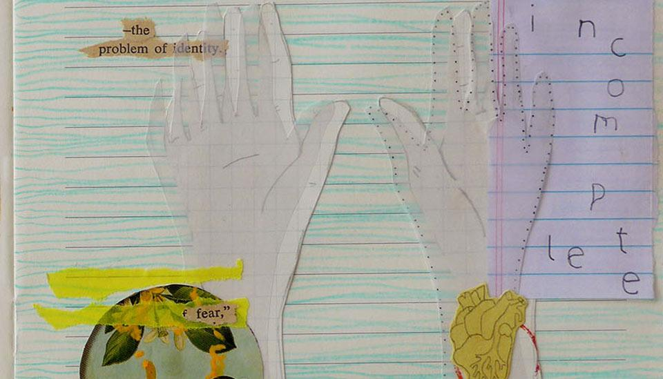 Collage: Hands on a notebook