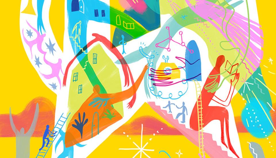 Abstract srawing with people and buildings
