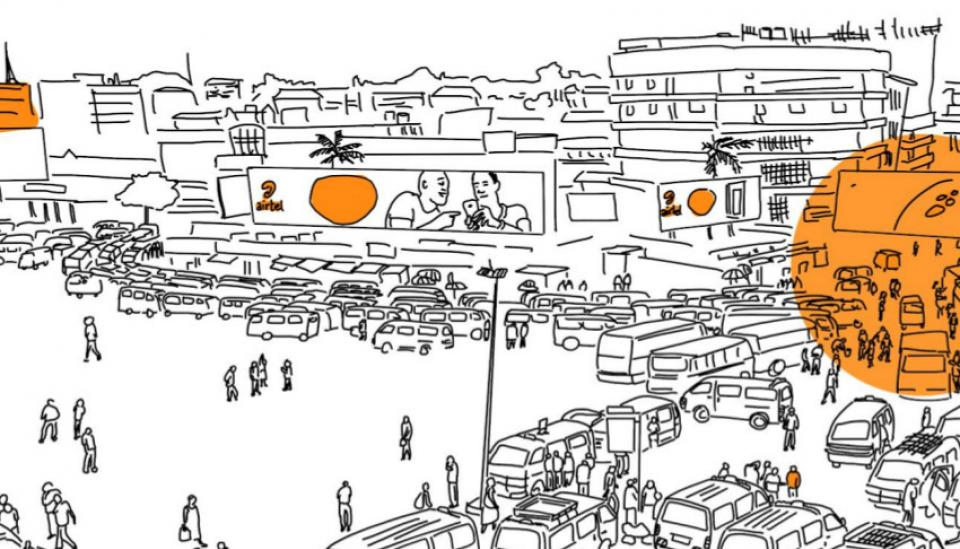 Image description: Illustration of crowded street and billboard