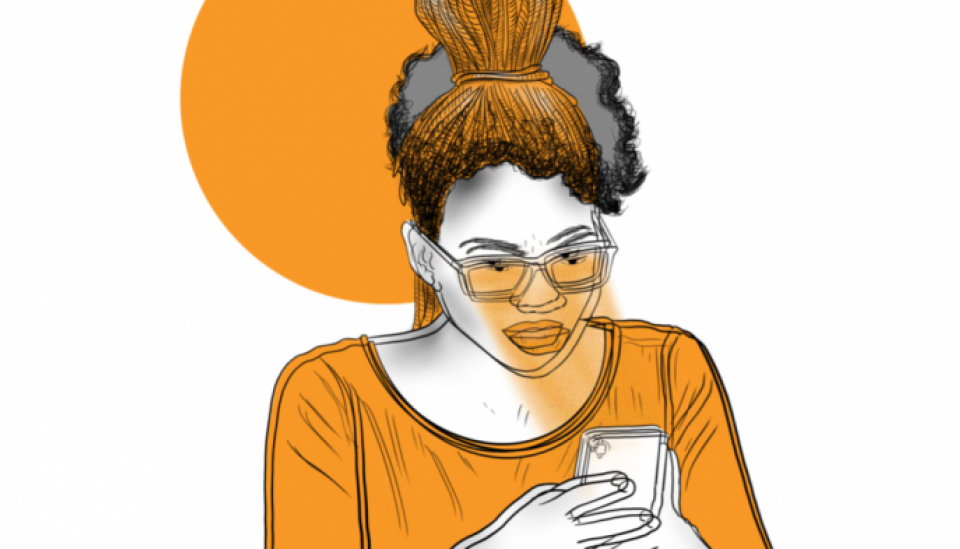 Illustration: african woman with a ceel phone in her nads