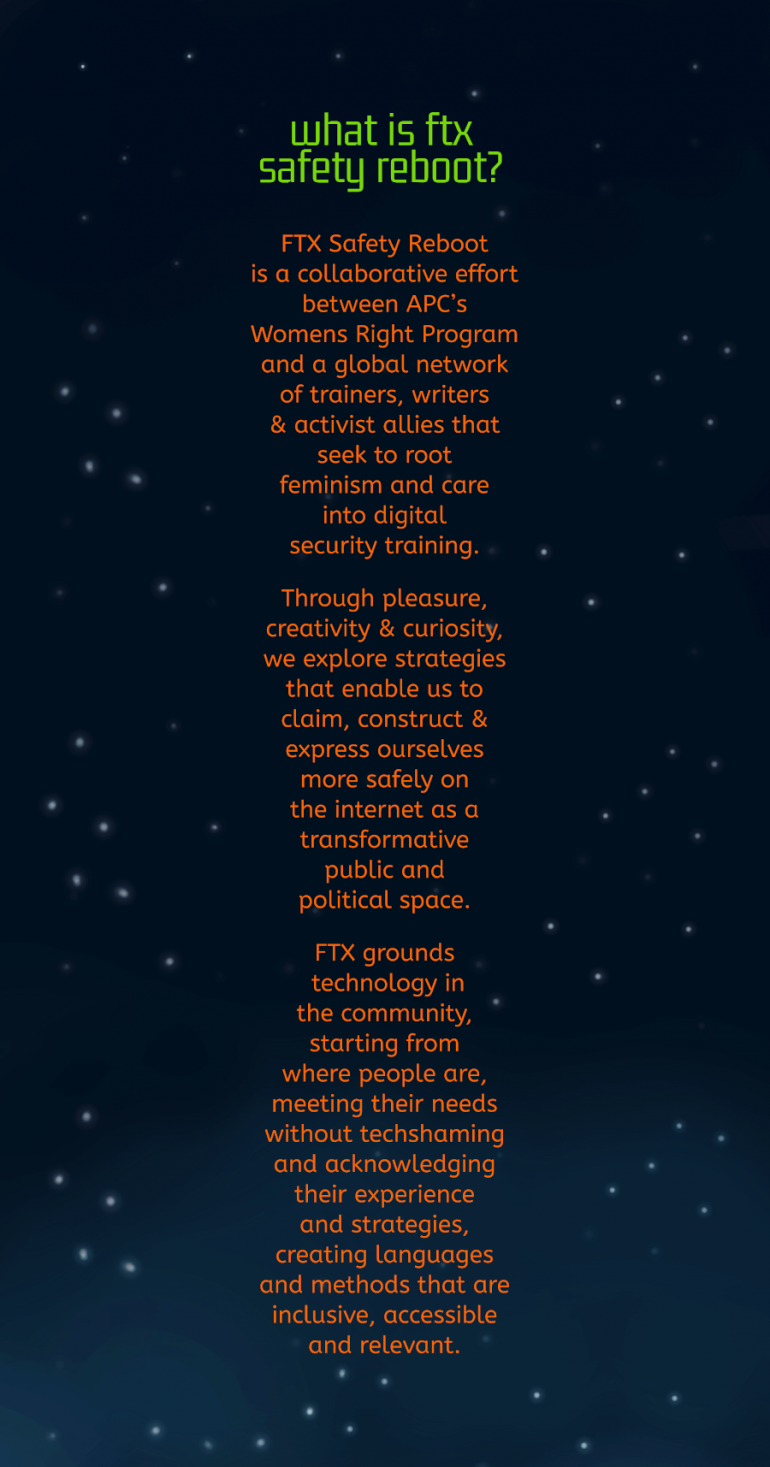 Sky with stars with text included after about ftx safety reboot.