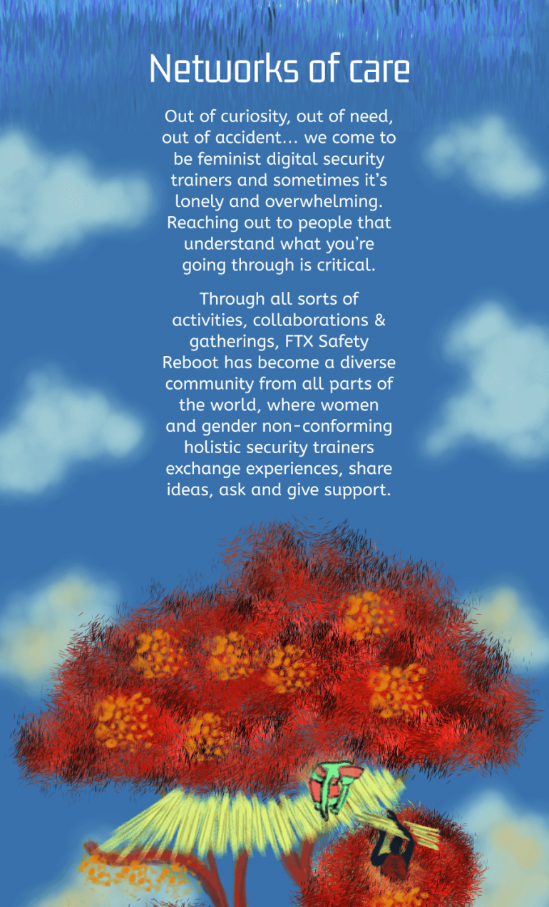 Information about practises of care in the ftx trainers network. Blue sky with clouds. Two queer feminists are building a house in a red tree with orange flowers.