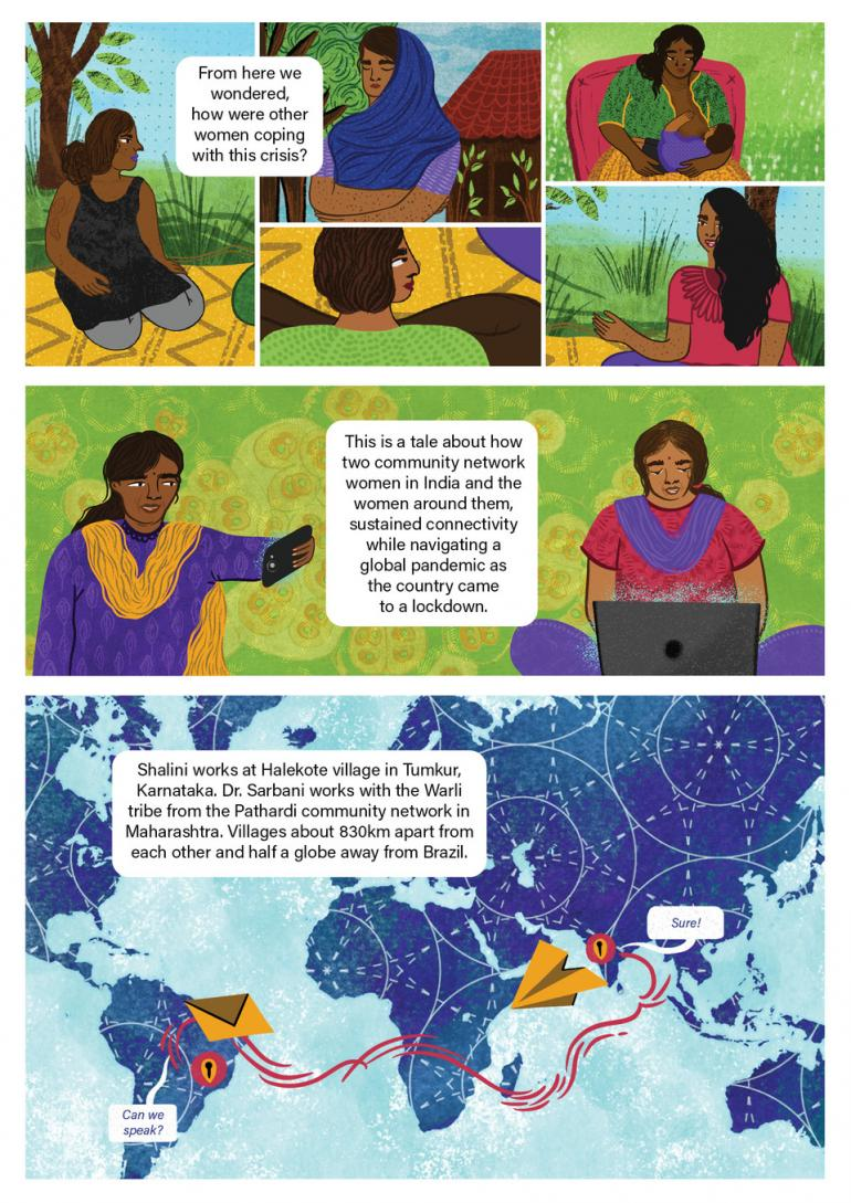 Frame 1: the women talk each other about the situation. Frame 2: one of the women takes a selfie and other uses a laptop. Frame 3: a message travelling across a world map.