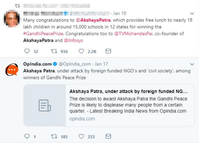 Screenshot of Twitter conversation on mid-may meal scheme and award