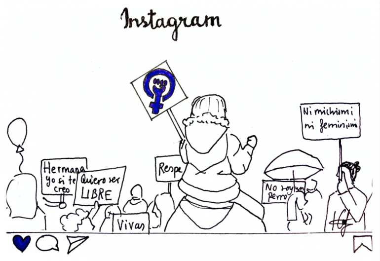 Illustration of photo of protest posted on Instagram