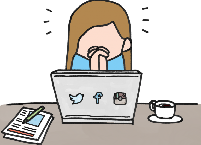 Comic of woman covering her mouth with her hands in front of computer