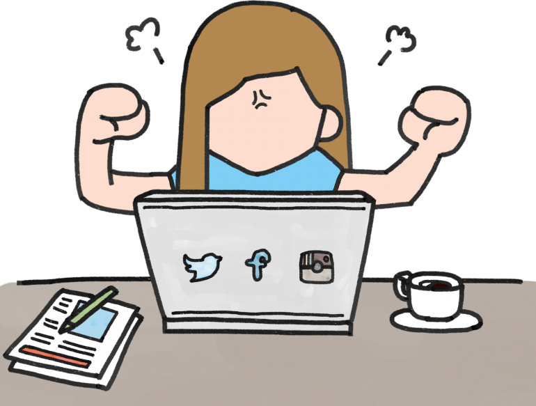 Comic of woman flexing her bicep muscles in front of computer