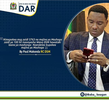 An instagram post by Governor Paul Makonda stating receive of over 5763 messages about gays