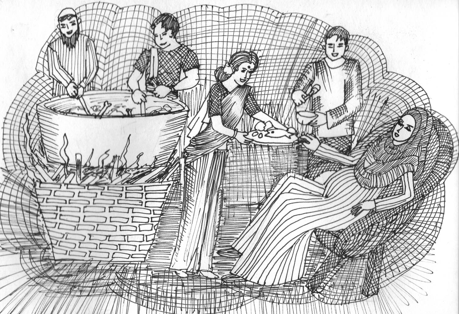 Drawing of various people cooking and serving food including meat and fish