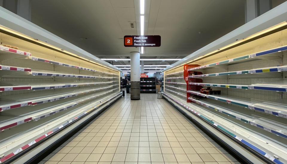 grocery store with empty shelves